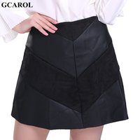 Wholesale Leather Splice Skirts - GCAROL 2017 Women New Suede And Faux Leather Spliced Skirt A-Line Sexy Mini Skirt High Quality XL Skirt For 4 Season