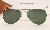 Wholesale Gold Glass Sunglass - new sunglasses 2015 top selling classic men women best quality metal frame sun glasses gold black brown gradient sunglass 58mm 62mm box case