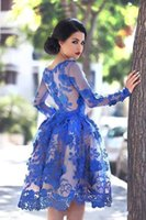 2017 Royal Blue Sheer lange Ärmel Lace Homecoming Kleider Scoop knielangen eine Linie kurzen Cocktail-Party Kleider Abendkleider Vestidos