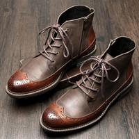 i̇ngiliz elbise botları toptan satış-US6-9 Erkek Hakiki Deri İngiliz Tarzı Dantel Up Kanat İpuçları Martin Çizmeler Rahat Kış Resmi Elbise Oxfords Fretwork Çizmeler Brogue Ayakkabı