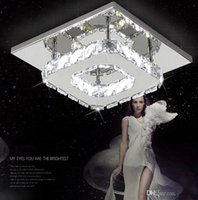 Wholesale Square Crystal Ceiling Lamp - New LED Crystal Ceiling Light 12W Fixture Square Surface Mounted Crystal Lamp for Hallway Corridor Asile Light Chandeliers with Coral Fleece