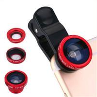 iphone objektive pakete großhandel-3 in 1 Universal Clip Fischaugen Objektiv Weitwinkel Makro Objektiv Handy Kamera Glas Fisheye Objektiv für iPhone Samsung mit Paket