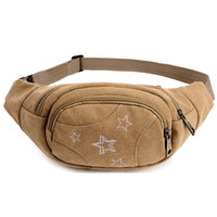 Barato Estilingue Atacado-Fabra Print Star New Men Waist Pack Qualidade Canvas Chest Pack Sling Bag Portable Small Capacity Unisex Fanny Waist Bag Atacado