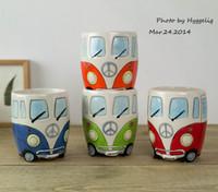 tasses de noël achat en gros de-NOUVEAU Camper Van Tasse bande dessinée tasses en céramique Puckator tasses coffrés cadeaux pour les enfants en porcelaine tasses pour café cadeau de Noël tasse chanceux
