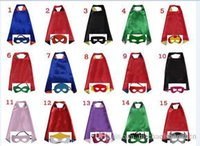 Wholesale Star Masks - Double side L70*70cm kids Superhero Capes and masks for kids capes with mask 15design
