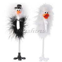 Wholesale Wholesale Guest Books - Wholesale- 1 Pair Bride and Groom Ostrich Feather Wedding Reception Guest Book Signing Pen