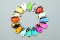 Wholesale Glass Beads Tear Drops - 50 pcs 11mm x 18mm Color Faceted Glass Tear Drop Jewels Beads Sewing Accessories
