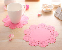 Wholesale Silicone Rubber Coaster - Rubber Rose Cup Coaster Cup Mat 3 size porta copos Cushion Holder Drink cup Placemat coffee pad Saucer Pot mat