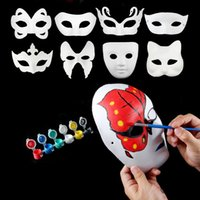 Wholesale Mask Painting Butterfly - New DIY Mask Hand Painted Halloween White Face Mask Butterfly Blank Paper Masks Masquerade Cosplay Party Props ZA1879