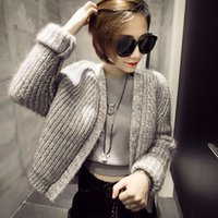 Wholesale Short Sleeve Cardigans For Girls - Fashion- Fashion Mink Cashmere Ladies Plush Cardigan Sweaters Women Short Paragraph Sweater Winter Warm Tops For Female Girl C1