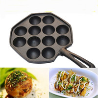 Wholesale Small Welding - Wholesale- No coating iron Octopus small balls Mold baking pan Baked Quail eggs non-stick pan for Electromagnetism furnace and gas grill