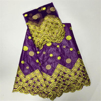 Wholesale Embroidered Lace Scarfs - Purple of Embroidered bazin riche getzner purple jacquard brocade fabric with bead match muslim net scarf cheap fabric china7yard   lot