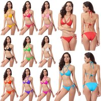 Wholesale Swimwear Beads - Sexy Women's Swimwear Buttocks Gold beads Bikini Halter Solid Color Swimsuit Double Screen Bra Fresh Style