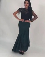 Wholesale Hemline Lengths - 2017 Sheer Neck Mermaid Evening Dresses Jewel Asymmetrical Sleeves Beaded Trimmings Ruched Illusion Back Irregular Hemline Prom Gowns