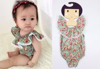 Wholesale Girls Dresses Lotus Tutu - Baby Rompers Lotus leaf sleeveless Floral Jumpsuits cotton Rompers Ha dress kids climbing clothing 8 p l