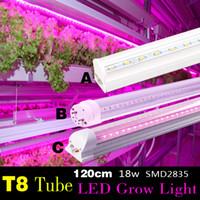 Wholesale T8 Led Grow Tube Lights - T8 18W 120CM AC vegetable grow light tube 1pc retail for Organic farming indoor full spectrum 380-780nm