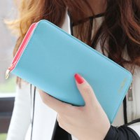 Wholesale Double Fold Wallet - Wholesale- New arrival women wallet carteira fashion CONTRAST COLOR double-folded wallets clutch women's long style purse freeshiping