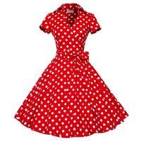 Wholesale Polka Dot Swing - New Plus Size S-4XL Women Retro Dress 50s 60s Vintage Rockabilly Swing feminino vestidos V neck Short Sleeves Dot print dress DK3018MX