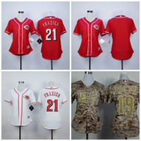 Wholesale Blank Baseball Shirts - Womens Cincinnati Reds Jerseys 21 Todd Frazier 19 Joey Votto Blank Baseball Jerseys Ladies Shirt Stitched White Red Camo