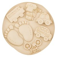 Wholesale Baby Feet Mold - Bus car bicycle train baby Feet footprint fondant silicone mold DIY Cake Decorating Tools cooking Baking mould 20pcs Free DHL Fedex