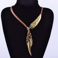Wholesale Black Feather Choker - 2017 Black Leather collar choker Necklace Pendant Crystal Fashion Ethnic Boho MultiLayer Feather Leaves Tassel Statement Necklace for Women