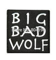 """Wholesale Sew Patches Retro - 3"""" BIG BAD WOLF biker retro emo punk rockabilly applique sew on  iron on patch Wholesale Free Shipping"""
