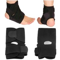 elastik ayak dirseği toptan satış-Açık Spor Siyah Ayarlanabilir Ayak Bileği Ayak Bileği Desteği Elastik Brace Guard Futbol Basketbol Ekipmanları