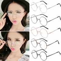 Wholesale Metal Frames Reading Glasses Women - Unisex Vintage Round Reading Glasses Metal Frame Retro Personality College Style Eyeglass Clear Lens Eye Glasses Men Women