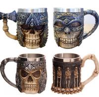 Wholesale Tankard Mug Wholesale - 3D Stainless Steel Liner Drinking Skull Mug Resin Skull Tankard Horror Decor Skull Cup for Halloween Bar Drinkware with handgrip