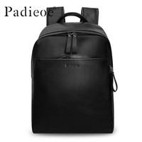 Wholesale black leather backpack for men - Wholesale- Padieoe Genuine Leather Backpack For Man Real Cowhide Large Male Bckpack Double Zipper Travel Rucksack Classic Unisex Black Bags