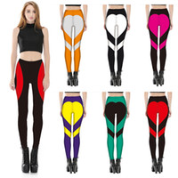 Wholesale Heart Design Leggings - 6 Colors Fashion Sports and Outdoor Pants Women Special Design Yoga Leggings Heart Booty Pants Running Tights Crop Workout Pants