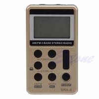auricular estéreo receptor al por mayor-Mini portátil AM / FM 2 bandas sintonización digital Radio receptor estéreo + auricular DC 5V