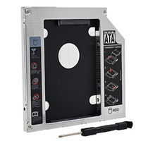 "Wholesale Laptop Dvd Drive Enclosure - Wholesale- Aluminum Universal SATA to SATA 2nd HDD Caddy 9.5mm 2.5"" SSD Case Hard Disk Drive Enclosure for Laptop CD-ROM DVD-ROM OptiBay"