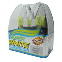 Wholesale H7 55w Halogen Bulb White - New 2Pcs Xenon HOD H11 Super White   Yellow Car Styling Headlight Halogen Bulb 12V 55W 100W 6000K