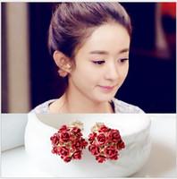 Wholesale Bouquet Earrings - 10Pcs   Lot Anti-Allergic Rose Flower Bouquet Earrings 18k Gold Plated Ear Ornamen Earrings Rose Flower Ear Nail Fashion Jewelry Women Xmas