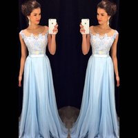 Wholesale Cheap Fast Shipping Dresses - Cheap Fast Shipping Long Bridesmaid Dresses 2017 Illusion Sheer Scoop Cap Sleeves Applique Light Blue Country Women Dress Gowns Custom Made