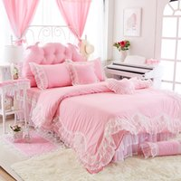 Wholesale lace luxury duvet sets - 2018 Luxury cotton Lace Bedding sets Newest Princess bedding set Duvet cover Bed Skirts bedding gifts for girls and womens factory Outlet