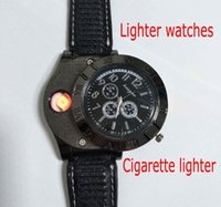 Wholesale Green Lighters - Hot F665 New Military USB Charging sports Lighter Watch Men's Casual Quartz Wristwatches with Windproof Flameless Cigarette Cigar Lighter
