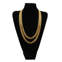 kette 316l 9mm großhandel-18K Gold überzogene 9mm Breite Curb Cuban Gliederkette 316L Edelstahl Männer Miami Halsketten Mode 24inch27inch Hiphop Lange Halskette Schmuck