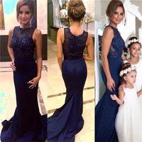 Wholesale Satin Pregnant - New sheer neck 12y Celebrity Dress 2017 full lace jewel pregnant girls NAVY blue formal prom dresses designer modest mermaid fairy Evening