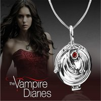 Grossiste-2016 The Vampire Diaries Elena's Vervain Antiquités Argent Bronze Body Chain Crystal Locket Vintage Collier Rétro Bijoux Femmes