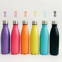 bouteille d'eau chaude vide achat en gros de-2017 vente chaude 17 oz coloré en acier inoxydable Cola forme bouteille avec couvercle tasse double paroi Aspirateur isolé tasse portable bouteille d'eau