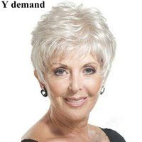 Wholesale Short Hair Wigs Fluffy Synthetic - Mother gifts Short Wigs Straight Fluffy Synthetic Hair Wigs For Women White with Free Hair Net Y demand
