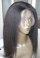 Wholesale High Density Remy Lace Wigs - High Density 360 Lace Frontal Kinky Straight Hair Wig Brazilian Remy Hair Full Lace Wig With Baby Hair