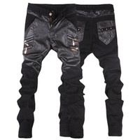 Wholesale Leather Motorcycle Pants 36 - Wholesale-New arrivals casual straight men's slim fit skinny leather pants male jeans motorcycle trousers 28-36 JP109