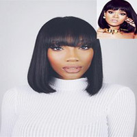Wholesale Straight Human Wigs - Bob style Fashion Simulation 100% Human Hair Wigs silky straight beauty wig with bangs for black women in stock
