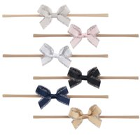 Wholesale Cute Hair Bands For Girls - 12 Pcs lot Knitted Headband Cute Hair Band With Mini Hair Bow For Toddle Girl Bow Headwear Headdress