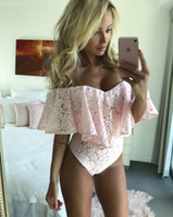 Wholesale Women Lace Romper - Sexy Rompers Women Jumpsuit Off Shoulder Sexy lace Ruffles Bodysuit casual Womens romper Overalls Bodycon Jumpsuit DHL DY170909