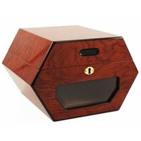 Wholesale Cigar Making - Beautiful Hexagon Design Cedar and Rosewood Made, Can Hold 50 Count Cigar Humidors With Cigar Hygrometer and Humidifier