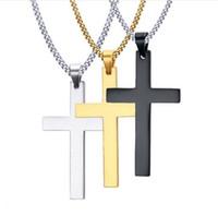 chaîne en titane pour hommes achat en gros de-Mens croix pendentif colliers en acier inoxydable lien chaîne collier déclaration charme bijoux populaires cadeaux accessoires de mode livraison gratuite nouveau